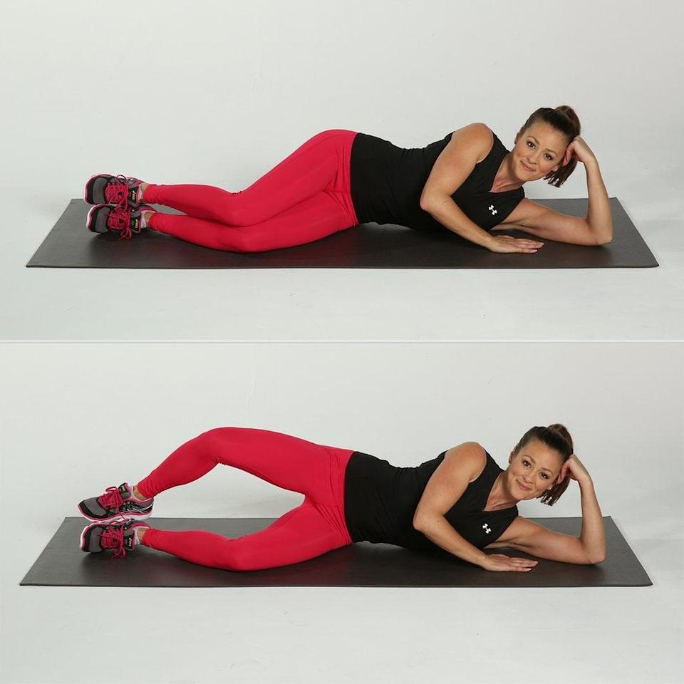 <ul> <li>Begin sitting, and slide an optional resistance band around your legs, just above your knees. (The resistance band will make this exercise more challenging, but you can also do it without.)</li> <li>Lie on one side with one leg stacked on top of the other and your feet touching. Bend your knees at a 45-degree angle.</li> <li>Rest your head on your lower arm.</li> <li>Brace your abs by drawing your belly button in toward your spine.</li> <li>Keeping your feet touching, raise the knee of your top leg as high as you can. Be sure not to shift your hips or pelvis. Your lower leg should remain in contact with the floor.</li> <li>Hold for one second, then lower your top leg back down.</li> <li>This counts as one rep. Repeat for two sets of 10 reps on each leg.</li> </ul>