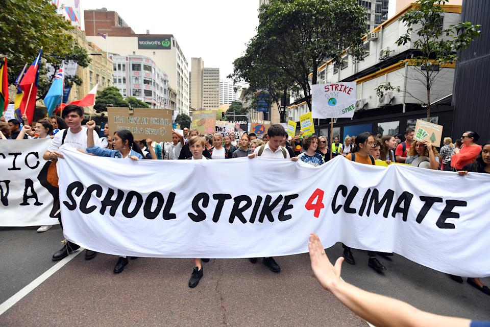 Thousands of school students from across Sydney attend the global #ClimateStrike rally march to Hyde Park in Sydney in March 15, 2019. Climate rallies were held across the world, with children and teens forgoing school to attend.