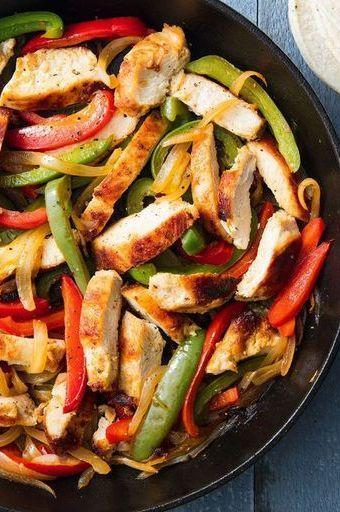 """<p>Fajitas are the perfect weeknight dinner. Minimal prep and minimal cook time means these can be on your table FAST. </p><p>Get the <a href=""""https://www.delish.com/uk/cooking/recipes/a30146397/easy-chicken-fajitas-recipe/"""" rel=""""nofollow noopener"""" target=""""_blank"""" data-ylk=""""slk:Chicken Fajitas"""" class=""""link rapid-noclick-resp"""">Chicken Fajitas</a> recipe.</p>"""