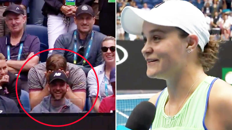 Ash Barty, pictured here calling out her trainer after winning at the Australian Open.