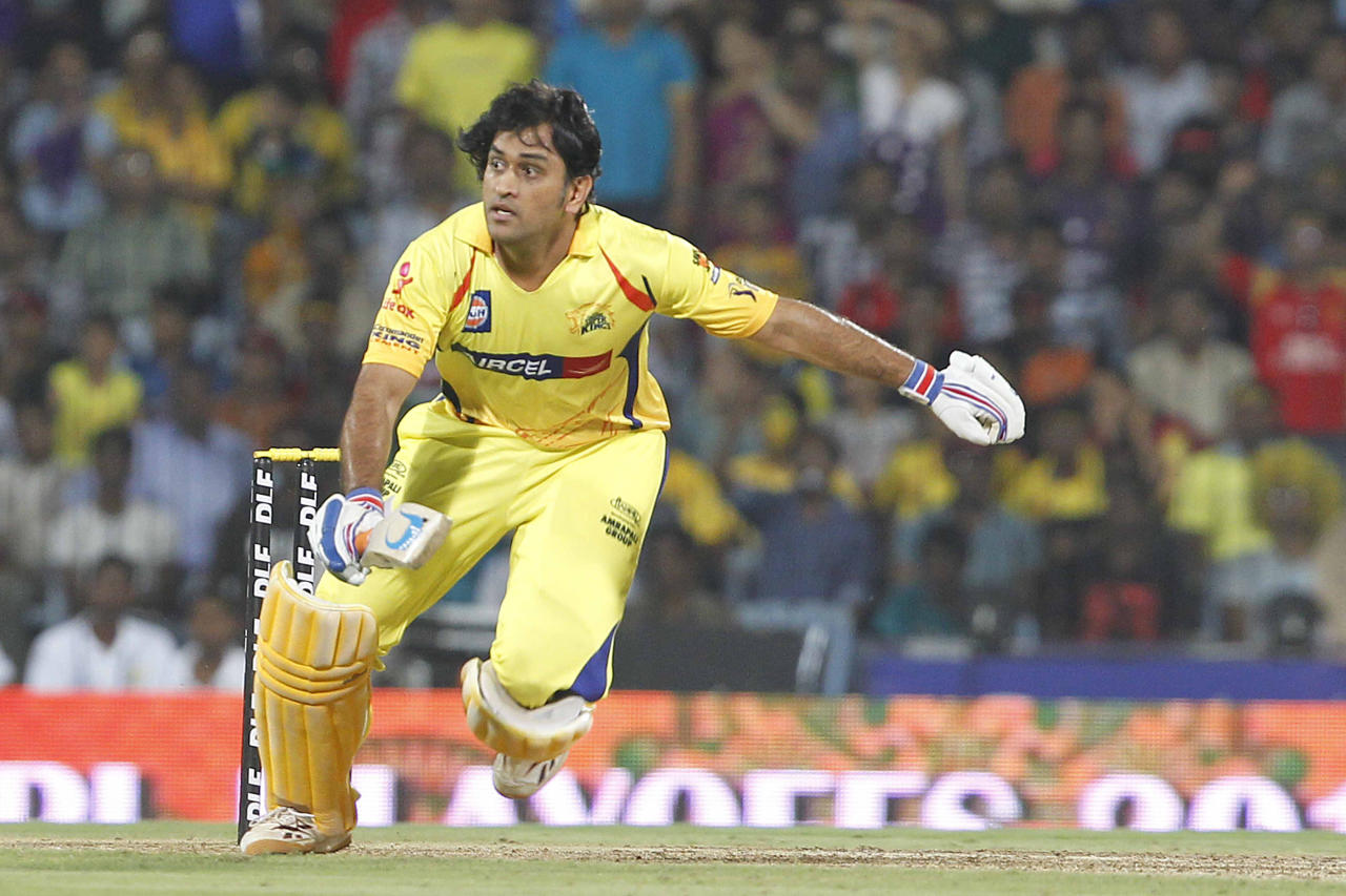 CHENNAI, INDIA - MAY 27: Chennai Super Kings Captain Mahendra Singh Dhoni runs during the IPL Twenty20 cricket final match between Chennai Super Kings and Kolkata Knight Riders at The MA Chidambaram Stadium in Chennai on May 27, 2012. (Photo by Naveen Jora/India Today Group/Getty Images)