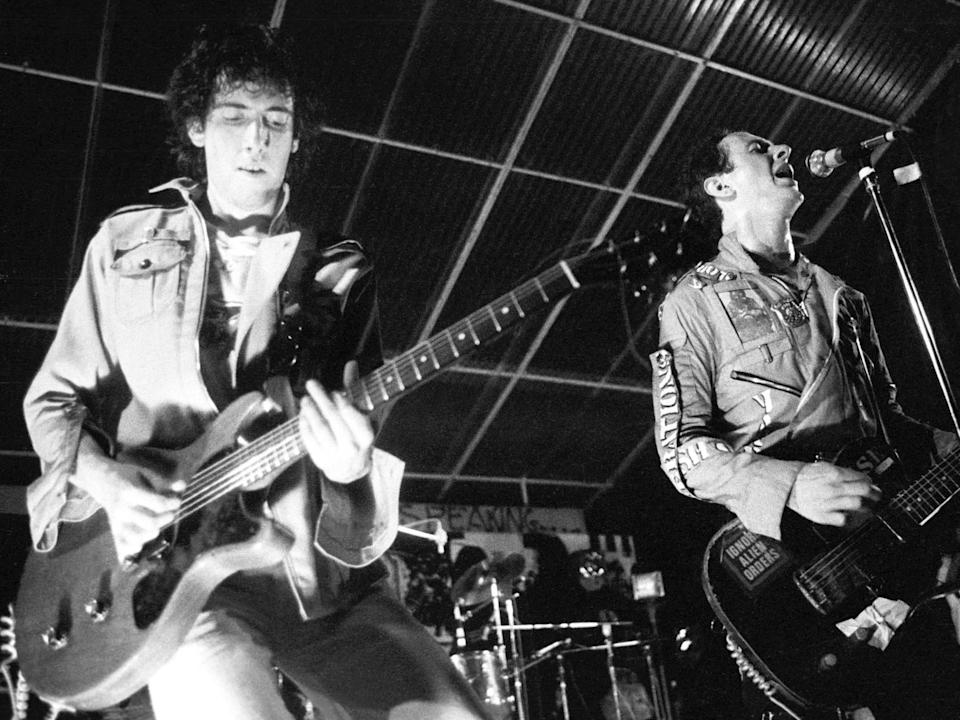 The greatest rock'n'roll band in the world: Mick Jones and Joe Strummer of The Clash perform at Mont de Marsan Punk Festival: Ian Dickson/Shutterstock