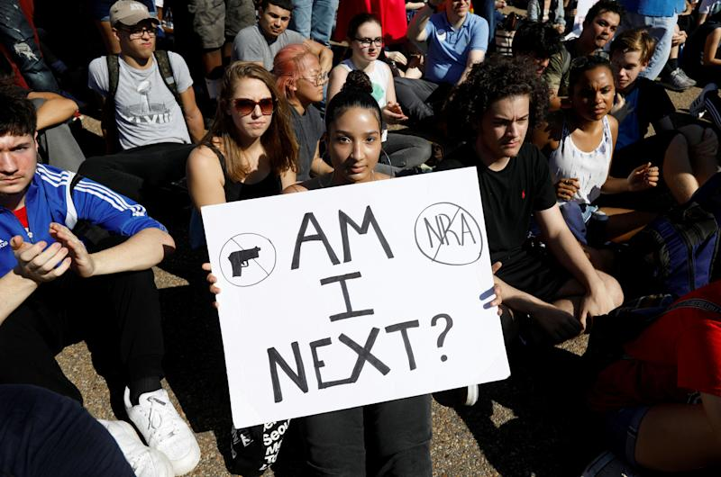 Students who walked out of their Montgomery County, Maryland, schools protest against gun violence in front of the White House.