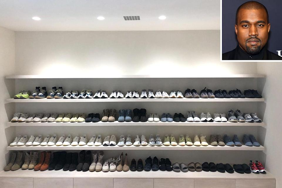 """Kanye offered a rare glimpse into his <a href=""""https://people.com/style/kanye-west-shoe-sneaker-closet-yeezys-photo/"""" rel=""""nofollow noopener"""" target=""""_blank"""" data-ylk=""""slk:shoe closet"""" class=""""link rapid-noclick-resp"""">shoe closet</a> when he tweeted a now-deleted image of one wall, filled with racks of sneakers, boots and slides, which he simply captioned, """"shoes."""""""