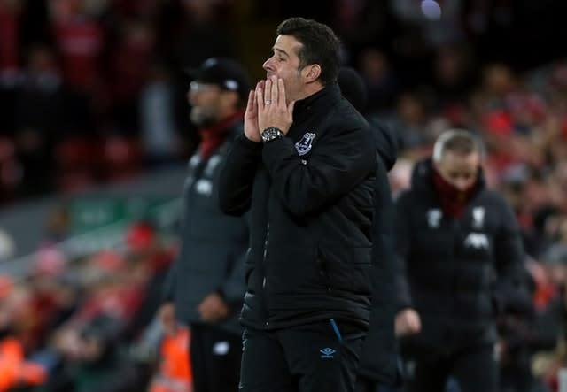 Marco Silva looks dejected at Anfield (Richard Sellers/PA)