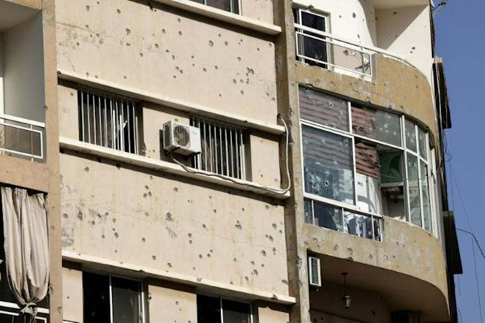 A bullet-riddled building during clashes in the Tayouneh area of Beirut, at the crossroads of Shiite and Christian militia bastions that were also battlegrounds in Lebanon's civil war (AFP/JOSEPH EID)