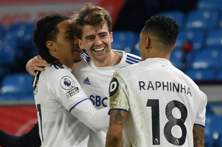 Lucky 13: Patrick Bamford (centre) scored his 13th goal of the season in Leeds' 3-0 win over Southampton