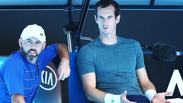 Andy Murray after pulling out of his practice match against Novak Djokovic. (Photo by Michael Dodge/Getty Images)
