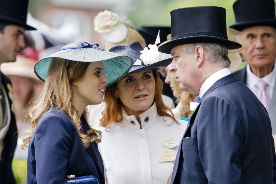 ASCOT, ENGLAND - JUNE 17:   Princess Beatrice, Sarah, Duchess of York and Prince Andrew, Duke of York attend day 4 of Royal Ascot at Ascot Racecourse on June 17, 2016 in Ascot, England. (Photo by Julian Parker/UK Press via Getty Images)