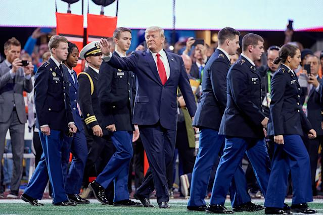 President Donald Trump attended the College Football Playoff National Championship Game between Alabama and Georgia on January 8, 2018 at Mercedes-Benz Stadium in Atlanta, GA. (Getty Images)