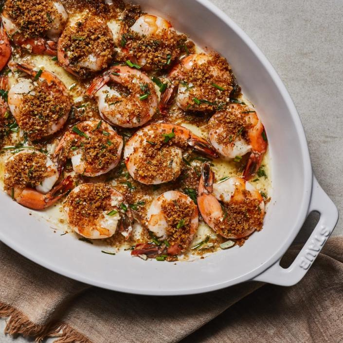 "<p>This easy baked shrimp dish is crispy, lemony, garlicky, buttery and simply delicious! Toasting the panko before topping the shrimp makes for a super-crispy topping. Serve these flavorful shrimp with over angel-hair pasta and add a green salad or a side of vegetables for a quick dinner that's simple enough for weeknights but fancy enough to serve to company. <a href=""http://www.eatingwell.com/recipe/277632/crispy-panko-parmesan-baked-shrimp/"" rel=""nofollow noopener"" target=""_blank"" data-ylk=""slk:View recipe"" class=""link rapid-noclick-resp""> View recipe </a></p>"