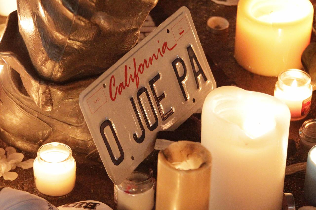 Candles and memorabilia are placed by well wishers at the foot of a statue of former Penn State football coach Joe Paterno outside Beaver Stadium on the Penn State University campus Saturday, Jan. 21, 2012, in State College, Pa. (AP Photo/Gene J. Puskar)