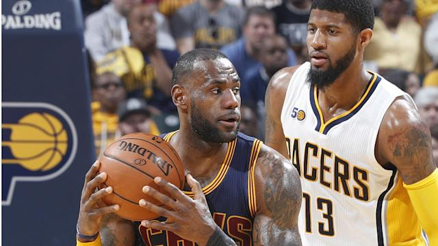 The Cavaliers completed a four-game sweep of the Pacers on Sunday to become the first team to advance to the second round of the playoffs.