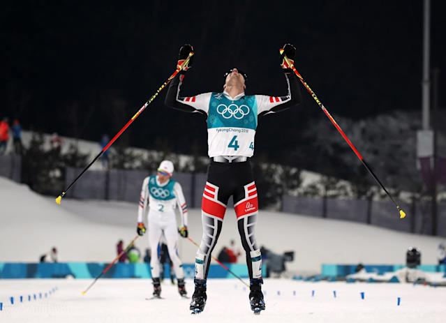 Nordic Combined Events - Pyeongchang 2018 Winter Olympics – Men's Individual 10km Final – Alpensia Cross-Country Skiing Centre - Pyeongchang, South Korea – February 14, 2018. Lukas Klapfer of Austria celebrates. REUTERS/Carlos Barria