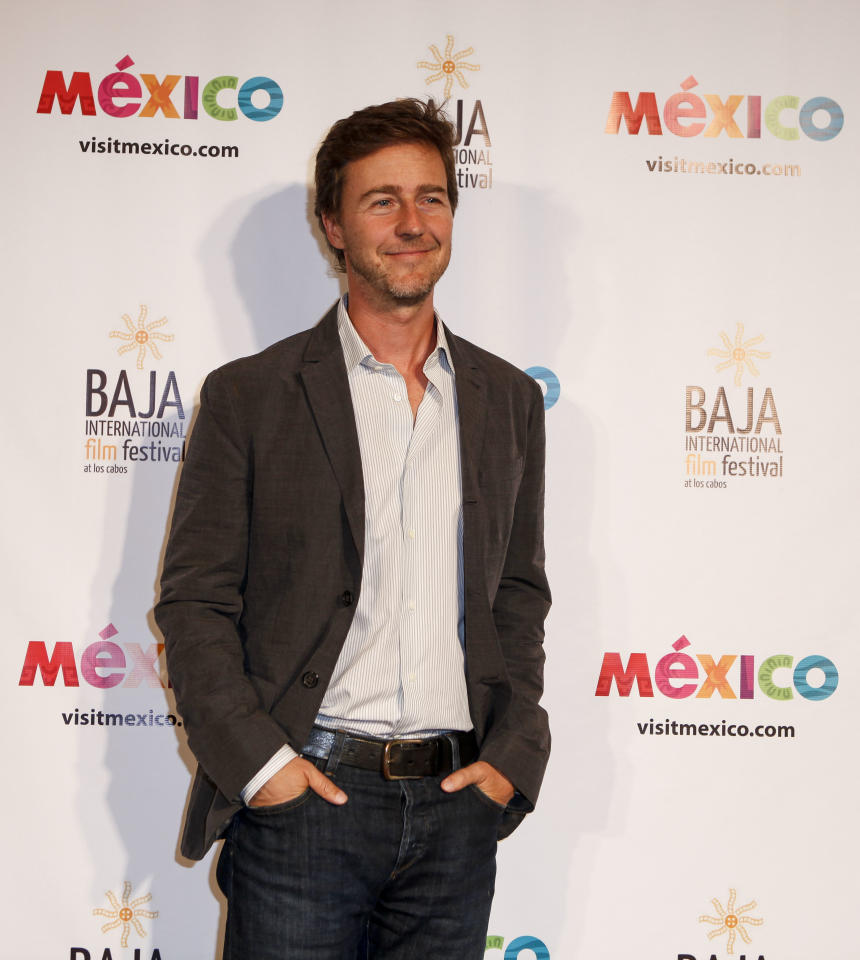 Actor Edward Norton during the launch of the Baja International Film Festival at the Beverly Hilton on Wednesday, October 10, 2012, in Beverly Hills, Calif. (Bret Hartman/AP Images for Mexico Tourism)