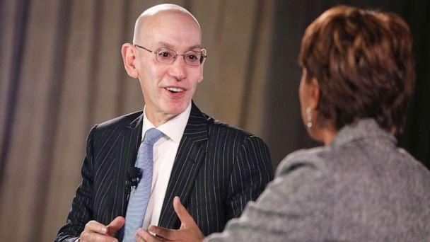 PHOTO: Commissioner of the NBA, Adam Silver and Robin Roberts speak onstage during the TIME 100 Health Summit at Pier 17, Oct. 17, 2019 in New York City. (Brian Ach/Getty Images)