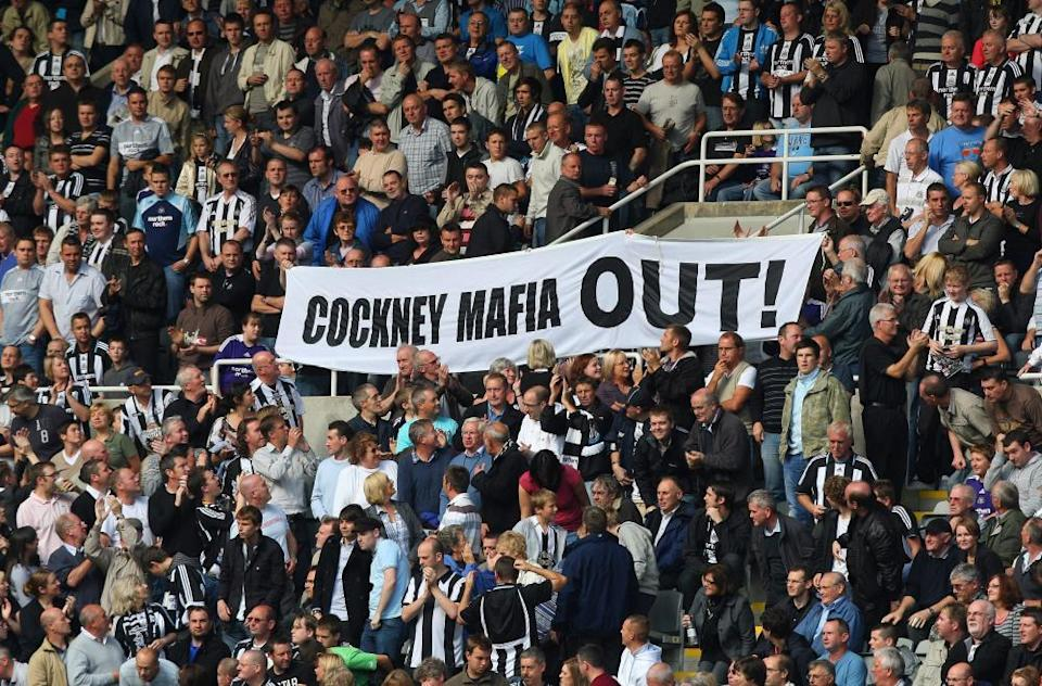 An anti-Mike Ashley banner at St James's Park, Newcastle United's ground, at a match in 2008