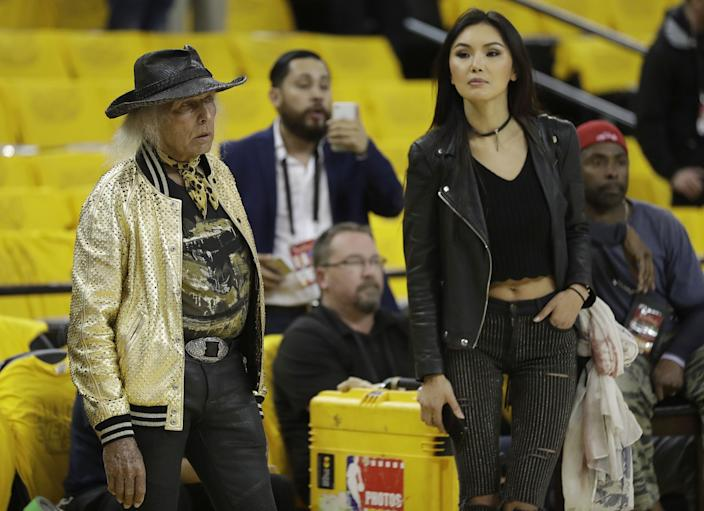 James Goldstein watches as players warm up before Game 5 of the 2017 NBA Finals