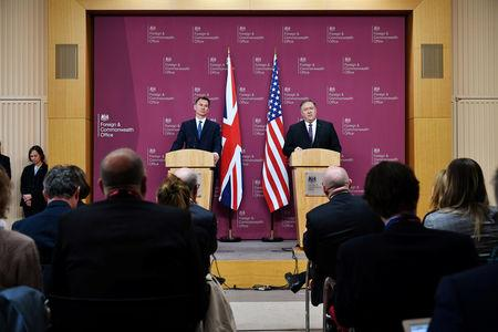 U.S. Secretary of State Mike Pompeo and Britain's Foreign Secretary Jeremy Hunt attend a joint news conference at the Foreign Office in central London, Britain May 8, 2019. Mandel Ngan/Pool via REUTERS
