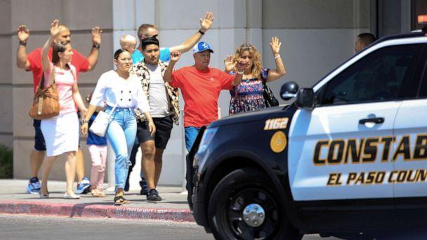 PHOTO: Shoppers exit after a mass shooting at a Walmart in El Paso, Texas, Aug. 3, 2019. (Reuters)