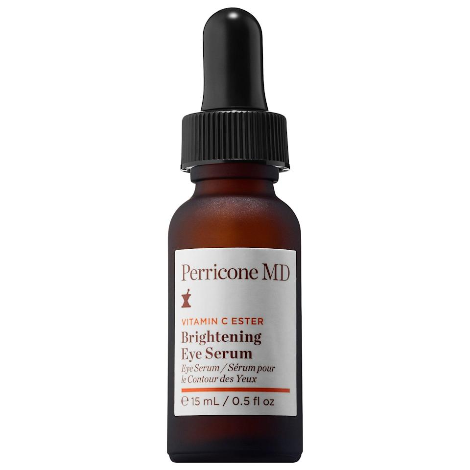 """<p>If you're looking for something lighter than a traditional cream, there's this top-rated <a href=""""https://www.popsugar.com/buy/Perricone-MD-Vitamin-C-Ester-Brightening-Eye-Serum-553530?p_name=Perricone%20MD%20Vitamin%20C%20Ester%20Brightening%20Eye%20Serum&retailer=sephora.com&pid=553530&price=60&evar1=bella%3Auk&evar9=47275268&evar98=https%3A%2F%2Fwww.popsugar.com%2Fbeauty%2Fphoto-gallery%2F47275268%2Fimage%2F47275276%2FPerricone-MD-Vitamin-C-Ester-Brightening-Eye-Serum&list1=shopping%2Csephora%2Ceye%20cream%2Cvitamin%20c%2Cbeauty%20shopping&prop13=api&pdata=1"""" rel=""""nofollow noopener"""" class=""""link rapid-noclick-resp"""" target=""""_blank"""" data-ylk=""""slk:Perricone MD Vitamin C Ester Brightening Eye Serum"""">Perricone MD Vitamin C Ester Brightening Eye Serum</a> ($60), which promotes collagen production in skin while antioxidants protect it against stressors. While this product brightens skin on its own, there's also a partnering <a href=""""https://www.popsugar.com/buy/Perricone-MD-High-Potency-Classics-Firming-Eye-Lift-553605?p_name=Perricone%20MD%20High%20Potency%20Classics%3A%20Firming%20Eye%20Lift&retailer=sephora.com&pid=553605&price=72&evar1=bella%3Auk&evar9=47275268&evar98=https%3A%2F%2Fwww.popsugar.com%2Fbeauty%2Fphoto-gallery%2F47275268%2Fimage%2F47275276%2FPerricone-MD-Vitamin-C-Ester-Brightening-Eye-Serum&list1=shopping%2Csephora%2Ceye%20cream%2Cvitamin%20c%2Cbeauty%20shopping&prop13=api&pdata=1"""" rel=""""nofollow noopener"""" class=""""link rapid-noclick-resp"""" target=""""_blank"""" data-ylk=""""slk:Perricone MD High Potency Classics: Firming Eye Lift"""">Perricone MD High Potency Classics: Firming Eye Lift</a> ($72) that plumps undereye skin with squalane, hyaluronic acid, and its own dose of stable vitamin C.</p>"""