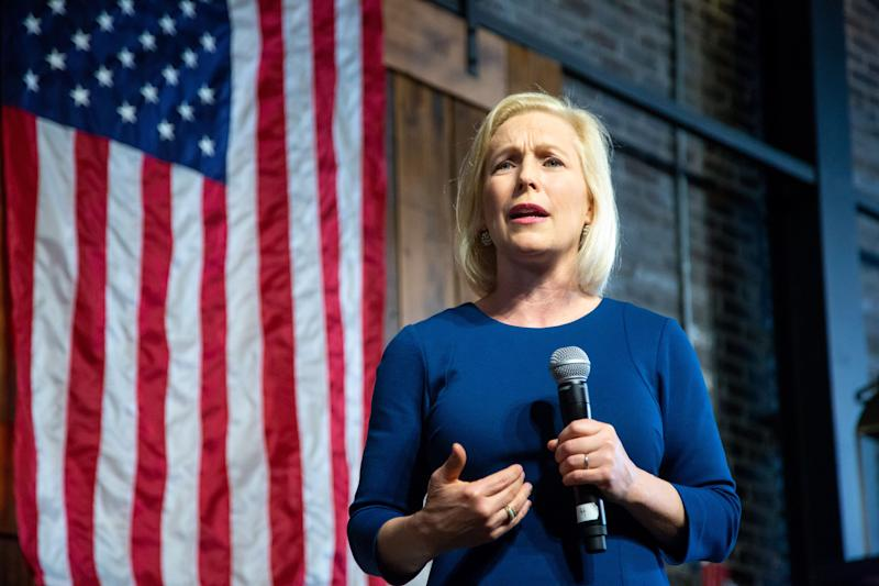 Democratic presidential candidate Sen. Kirsten Gillibrand, D-N.Y., speaks during a town hall in Des Moines Wednesday, March 20, 2019.