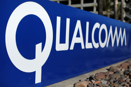 FILE PHOTO: A sign on the Qualcomm campus is seen in San Diego, California, U.S. November 6, 2017. REUTERS/Mike Blake