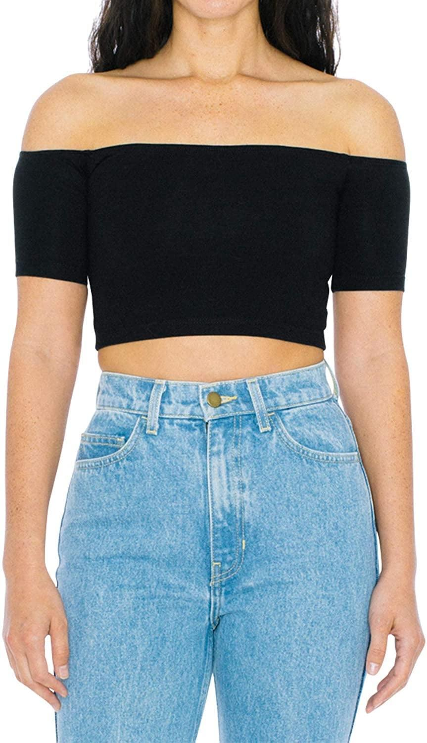 <p>This classic <span>American Apparel Cotton Off-Shoulder Short Sleeve Top</span> ($18) is begging to be styled with your favorite high-waist jeans. Finish off your look with a small off-shoulder bag and some low white sneakers.</p>