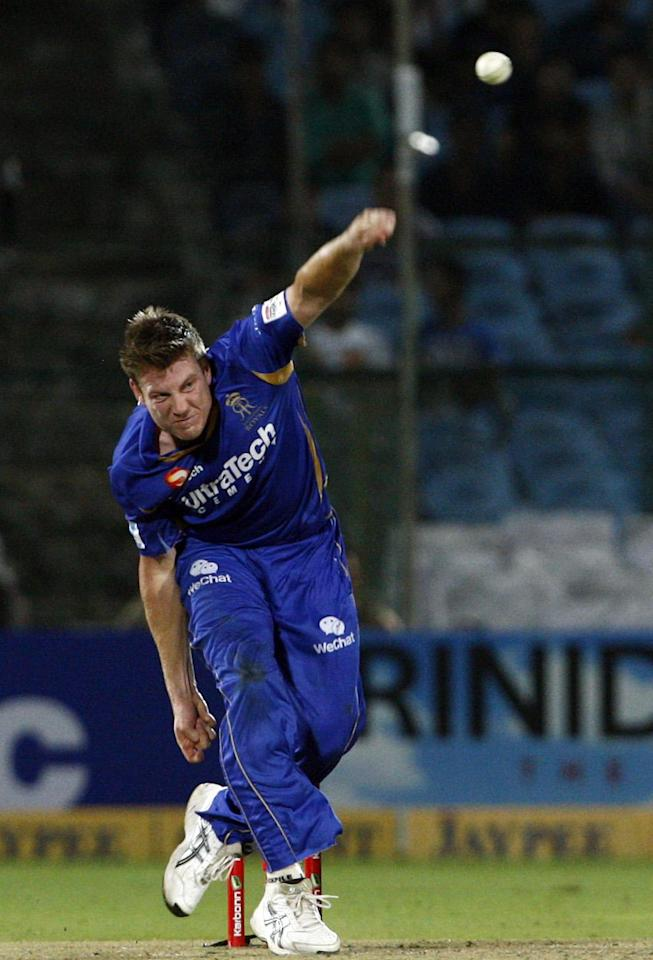 Rajasthan Royals bowler Shane Watson in action against Perth Scorchers during the CLT20 match at Sawai Mansingh Stadium, Jaipur on Sept. 29, 2013. (Photo: IANS)