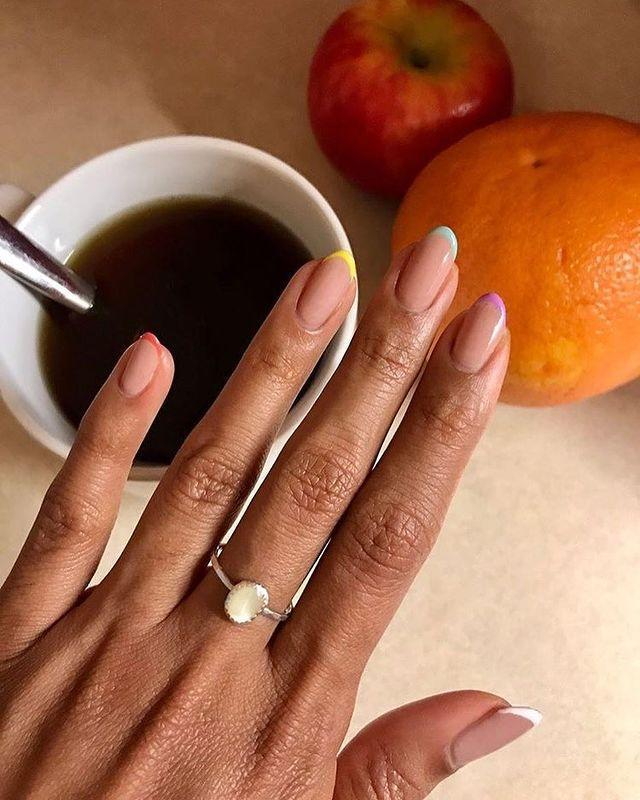 """<p>Go ahead an incorporate a nail art technique you love—like a French tip or abstract squiggle—in with your favorite barely there shades. """"I think minimalist trends with simple geometric shapes and lines will continue to thrive,"""" adds Lippmann. </p><p><a href=""""https://www.instagram.com/p/CEUAJUrhH-0/"""" rel=""""nofollow noopener"""" target=""""_blank"""" data-ylk=""""slk:See the original post on Instagram"""" class=""""link rapid-noclick-resp"""">See the original post on Instagram</a></p>"""