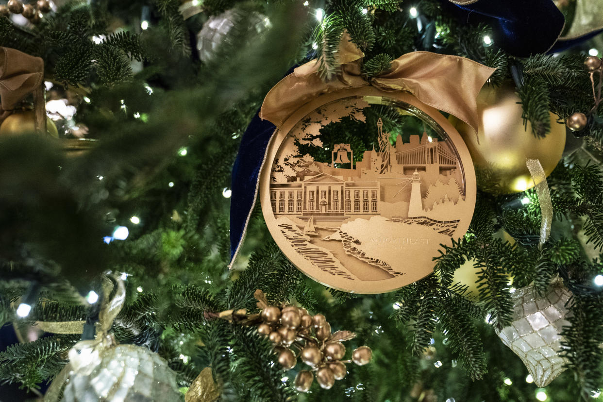 An ornament is seen on a tree during the White House Christmas preview in the East Room of the White House on Monday, Nov. 26, 2018 in Washington, DC. (Photo: Jabin Botsford/The Washington Post via Getty Images)