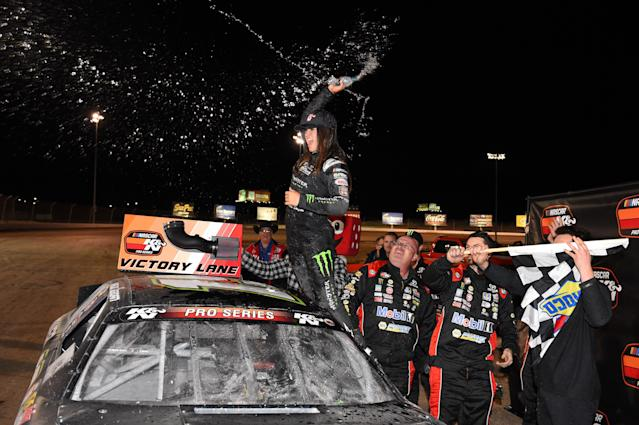 Hailie Deegan celebrates a victory during the NASCAR K&N Pro Series West Star Nursery 100 on Feb. 28, 2019, at The Dirt Track at Las Vegas Motor Speedway. (Getty Images)