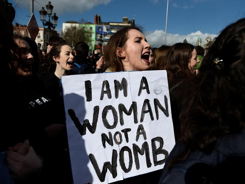 Campaigners stage a protest to demand more liberal abortion laws in Dublin: Reuters