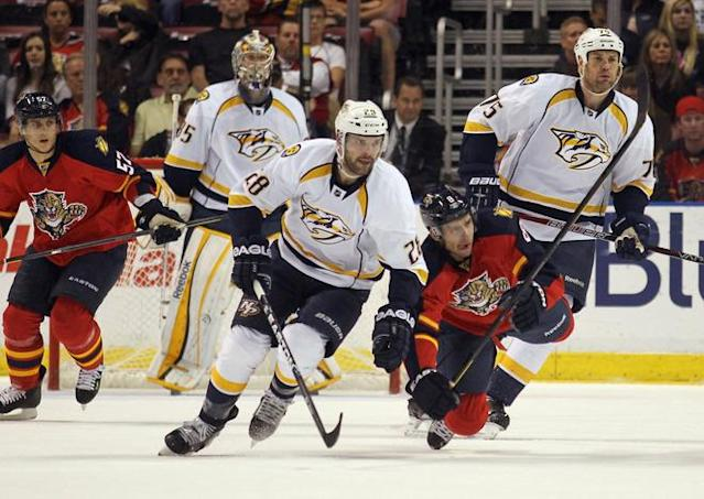 SUNRISE, FL - MARCH 03: Paul Gaustad #28 of the Nashville Predators skates in his first game as a Predator against the Florida Panthers at the BankAtlantic Center on March 3, 2012 in Sunrise, Florida. (Photo by Bruce Bennett/Getty Images)