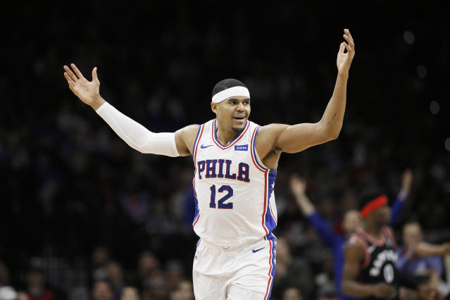 Philadelphia 76ers' Tobias Harris reacts after making a basket during the first half of an NBA basketball game against the Toronto Raptors, Sunday, Dec. 8, 2019, in Philadelphia. (AP Photo/Matt Slocum)