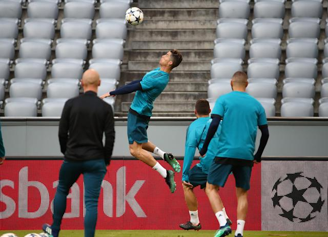 Soccer Football - Champions League - Real Madrid Training - Allianz Arena, Munich, Germany - April 24, 2018 Real Madrid's Cristiano Ronaldo during training REUTERS/Michael Dalder