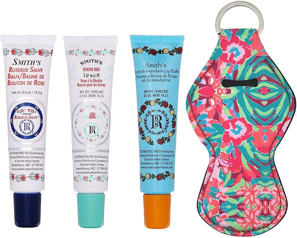 """<h3>Smith's Rosebud Salve Lip Balm & Holder Keychain Bundle</h3><br>This trio of Smith's Rosebud Salve lip balm tubes is a winter lip essential that fit perfectly inside a stocking — and come festively bundled with a nifty lip-balm keychain holder.<br><br><strong>Smith's</strong> Rosebud Salve, Lip Balm & Lip Balm Holder Keychain, $, available at <a href=""""https://amzn.to/36r8zgB"""" rel=""""nofollow noopener"""" target=""""_blank"""" data-ylk=""""slk:Amazon"""" class=""""link rapid-noclick-resp"""">Amazon</a>"""