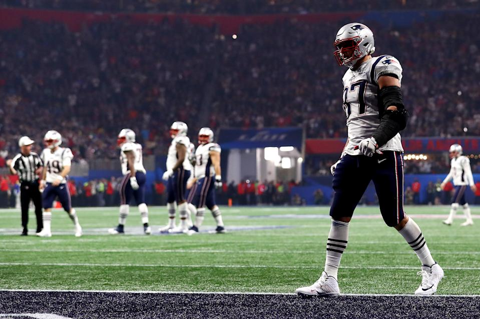 Rob Gronkowski #87 of the New England Patriots in the end zone during Super Bowl LIII against the Los Angeles Rams