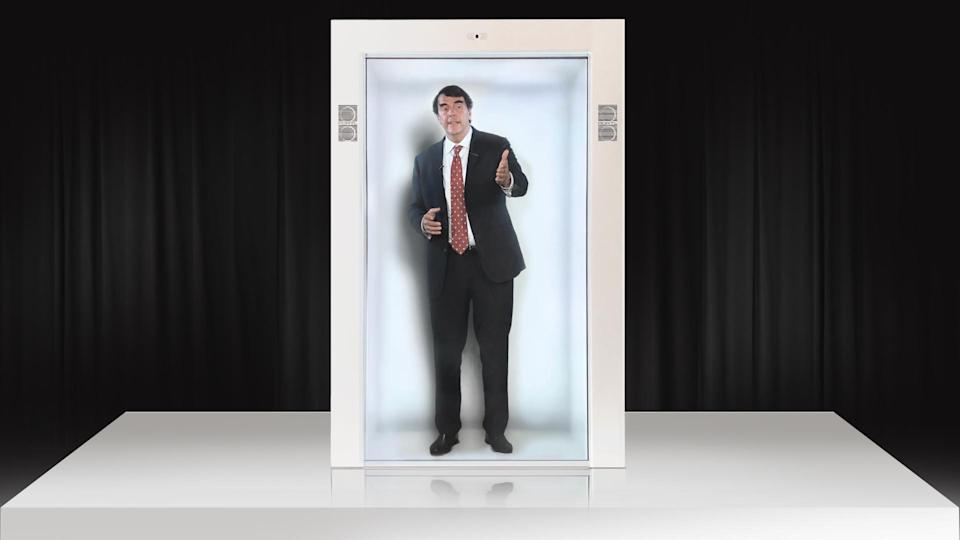 Tim Draper, the longtime venture capital investor, appears as a hologram in the display from his latest investment, Portl