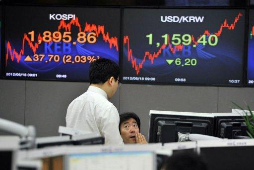 Currency dealers talk in front of screens showing South Korea's benchmark stock index (L) and the Korean won/USD exchange rate (R) in a dealing room at the Korea Exchange Bank in Seoul on June 18, 2012. Asian markets surged Monday and the euro rose after Greek pro-austerity parties won enough votes to form a government, but optimism it will stay was tempered with warnings the future is uncertain