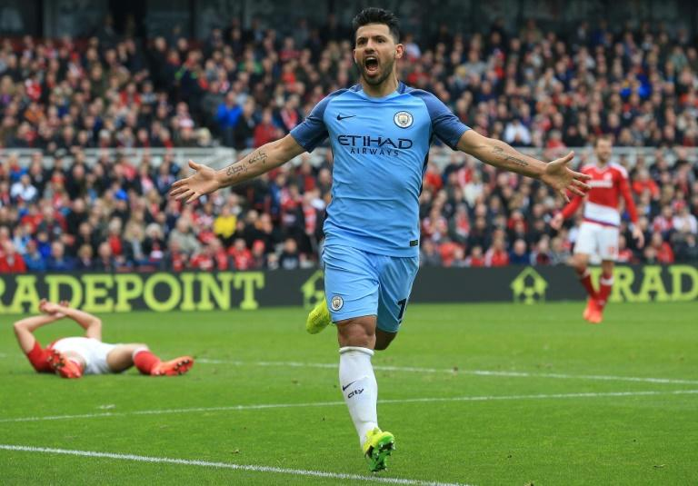 Manchester City's Sergio Aguero celebrates after scoring their second goal during their match against Middlesbrough on March 11, 2017