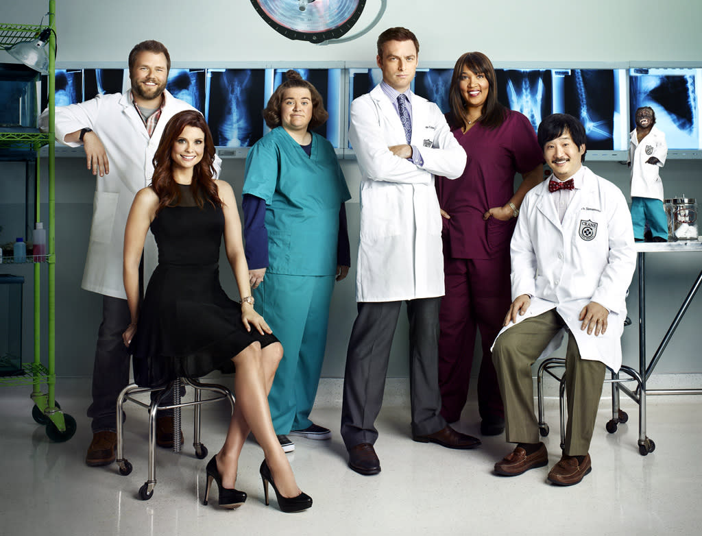 """<b>""""<a href=""""http://tv.yahoo.com/animal-practice/show/48542"""">Animal Practice</a>"""" (NBC) </b><br><br>The fact that its supporting cast prominently features a monkey should've been our first hint. This shaggy-dog comedy, starring Justin Kirk as a surly veterinarian, got a nice sampling with a post-Olympics sneak preview. But those viewers apparently weren't too thrilled with what they saw, because <a href=""""http://tv.yahoo.com/news/ratings-modern-family-returns-strong-animal-practice-guys-160900233.html"""">only 5.2 million of them</a> tuned into this week's new episode. If we want to watch cute animals, we'll switch over to Animal Planet, okay? <br><br><b>Prognosis:</b> Put out of its misery by the holidays. Is it too late for the monkey to sign up for """"The Hangover Part III""""?"""