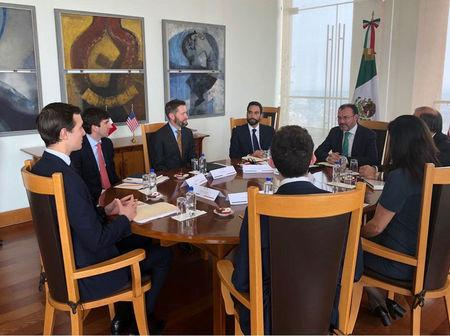 Jared Kushner, senior adviser to U.S. President Donald Trump, listens to Mexican Foreign Ministry Luis Videgaray (R) during a meeting at the foreign ministry building, in this handout photograph released to Reuters by the Mexico Presidency, March 7, 2018. Mexico Presidency/Handout via REUTERS