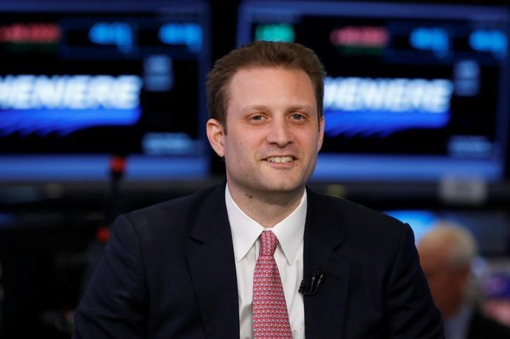 Blue Apron CEO Matthew B. Salzberg stands on the floor of the New York Stock Exchange waiting for for the company's IPO in New York