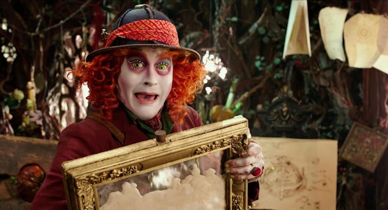 Johnny Depp returned as the Mad Hatter in the fantasy sequel