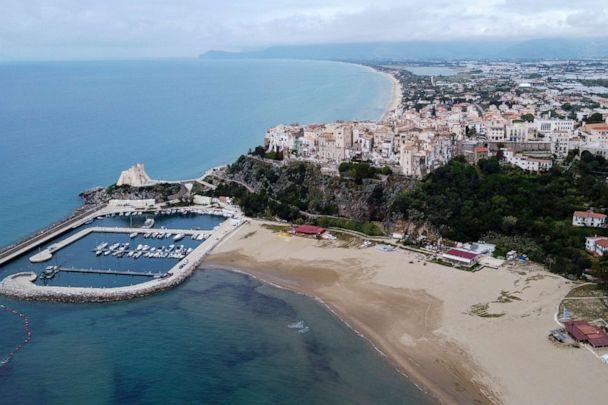 PHOTO: A view of the seaside town Sperlonga and its beaches, about 80 miles south of Rome, April 28, 2020 (Luigi Navarra/AP)