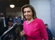 House Speaker Nancy Pelosi, D-Calif., updates reporters following a Democratic Caucus meeting in the basement of the Capitol in Washington, Tuesday, Sept. 28, 2021. Work continues behind the scenes on President Joe Biden's domestic agenda and a bill to fund the the government. (AP Photo/J. Scott Applewhite)