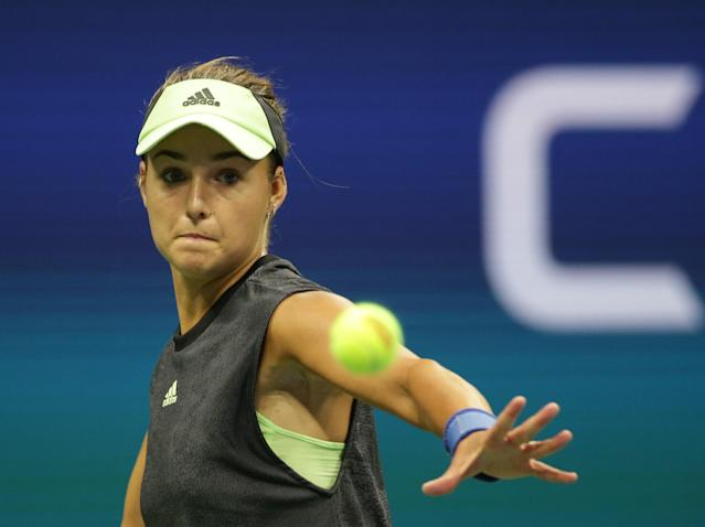 "Anna Kalinskaya upset 2017 champion <a class=""link rapid-noclick-resp"" href=""/olympics/rio-2016/a/1121050/"" data-ylk=""slk:Sloane Stephens"">Sloane Stephens</a> during the first round of the US Open on Tuesday. (Getty)"