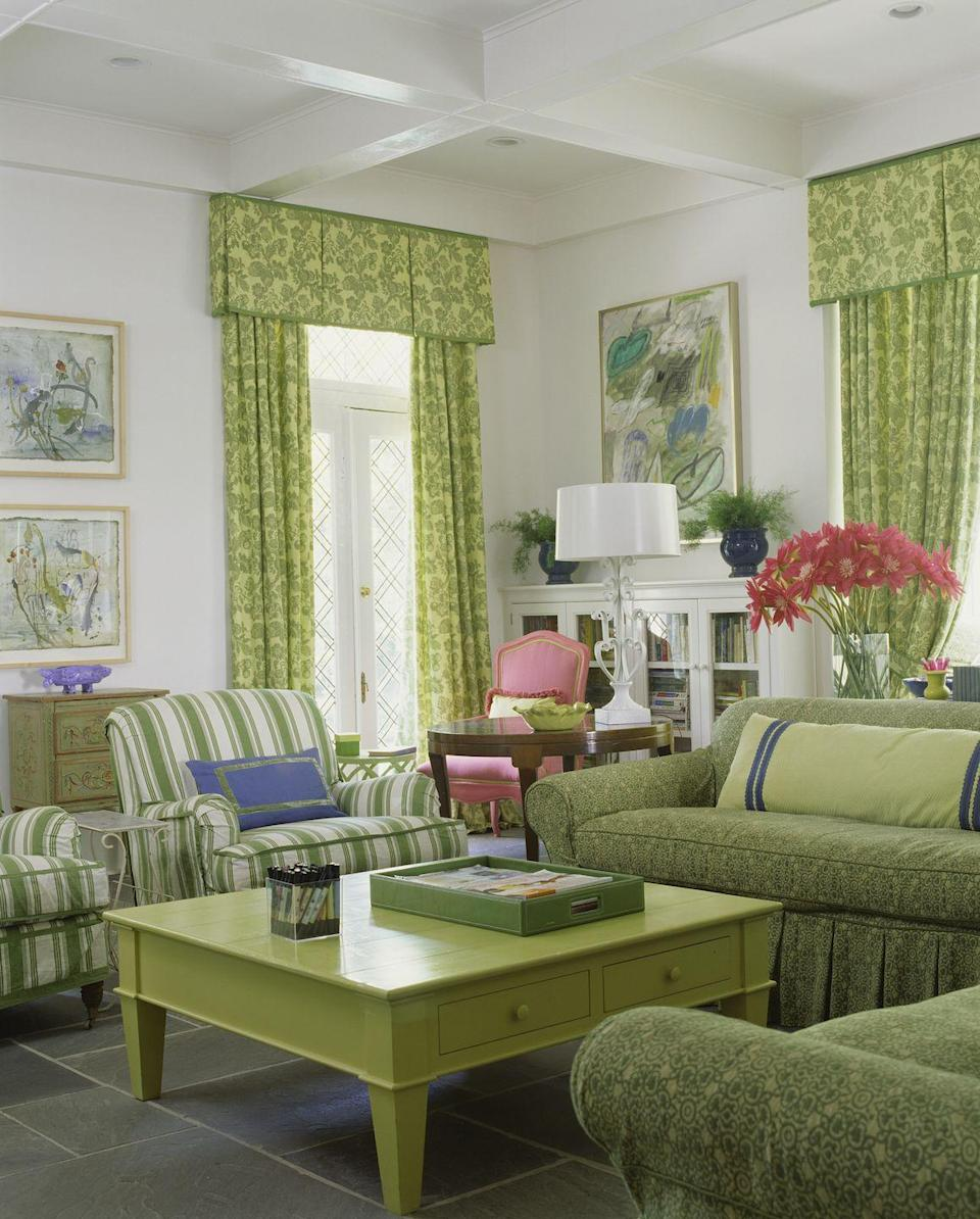 """<p>When the window valances match the curtains, and <em>those </em>match the furniture, you know you've arrived in a decade past. Swap boxy for elegant with <a href=""""https://www.elledecor.com/home-remodeling-renovating/home-renovation/a3614/how-to-choose-curtains/"""" rel=""""nofollow noopener"""" target=""""_blank"""" data-ylk=""""slk:updated, modern curtains"""" class=""""link rapid-noclick-resp"""">updated, modern curtains</a>. </p>"""