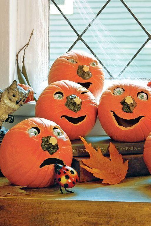 """<p>Give pumpkins a pair of eyes and use their stems as noses to give them an extra touch of personality. </p><p><strong><em><a href=""""https://www.womansday.com/home/crafts-projects/a28580678/pumpkins-with-personality/"""" rel=""""nofollow noopener"""" target=""""_blank"""" data-ylk=""""slk:Get the Pumpkins with Personality tutorial"""" class=""""link rapid-noclick-resp"""">Get the Pumpkins with Personality tutorial</a>. </em></strong></p><p><a class=""""link rapid-noclick-resp"""" href=""""https://www.amazon.com/ROSENICE-Halloween-Hollow-Plastic-Eyeball/dp/B01I53MLYG?tag=syn-yahoo-20&ascsubtag=%5Bartid%7C10070.g.2488%5Bsrc%7Cyahoo-us"""" rel=""""nofollow noopener"""" target=""""_blank"""" data-ylk=""""slk:SHOW PLASTIC EYEBALLS"""">SHOW PLASTIC EYEBALLS</a></p>"""